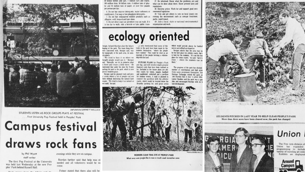 Newspaper clippings of People's Park being created, and social events taking place