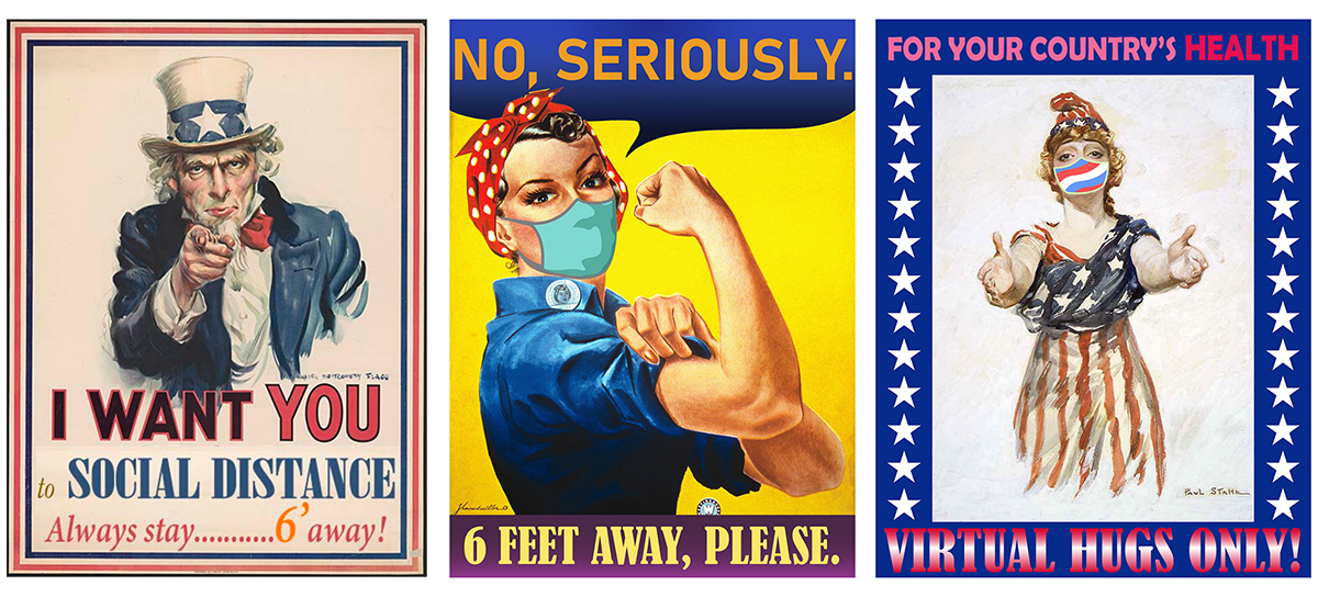 Compilation of Verma's posters: uncle sam, rosie the riveter
