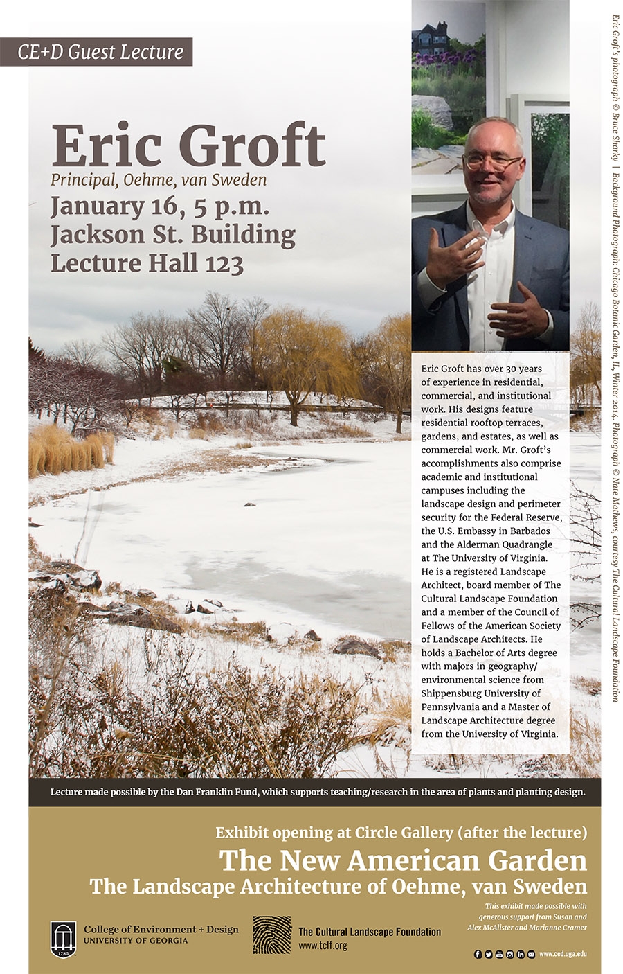 Eric Groft of Oehme, van Sweden to lecture Jan. 16th